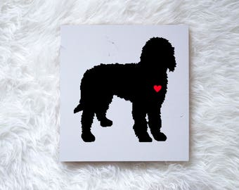 Hand Painted Goldendoodle or Labradoodle Silhouette on Painted Grey Wood, Dog Decor Dog Painting, Gift for Dog People, New Puppy Gift