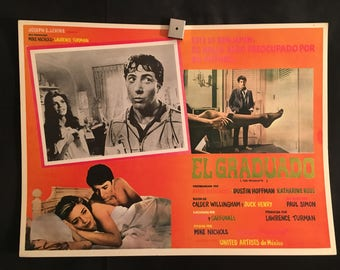 Original 1968 The Graduate Mexican Lobby Card Movie Poster, Dustin Hoffman, Anne Bancroft