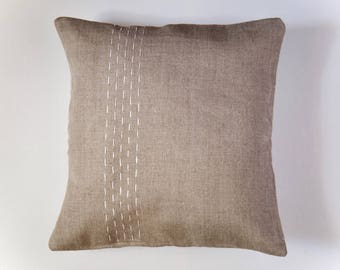 Linen Pillow Cover | Five Parallel Lines | Oatmeal