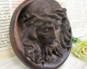 Wall Plaque Tile hand Carved Wood Jesus Christ Head of Thorns Sculpture Art