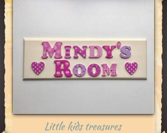 """DOUBLE WORD BESPOKE girls personalised name plaque with cute lettering! 12x4"""". Little kids treasures"""