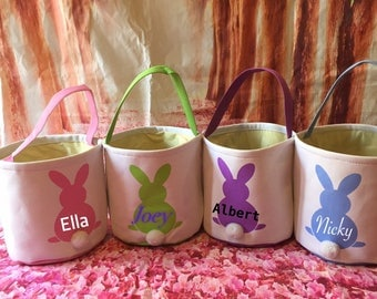 Personalized Canvas Easter Basket. Easter Egg Hunt Pale. Professional Vinyl Pressing. Order Now in Pink, Blue, Purple or Green. ON SALE