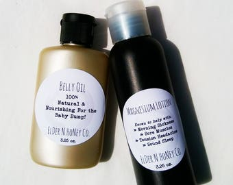 Belly Oil, Moisturize your Growing Bump! 100% Natural Ing! Reduces Chances of Stretch Marks - Pregnancy Gift, Friend Pregnant, Gift Box Gift
