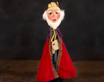 Kersa hand puppet King, German vintage 1950s glove puppet made of modelled jersey, hand painted, high quality puppet theatre doll