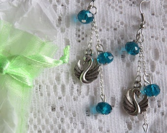 Turquoise dangle earrings silver Swan & Crystal from Austria