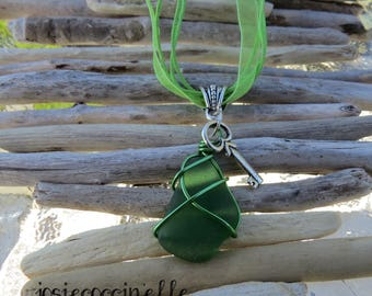 Green frosted glass and by JosieCoccinelle key charm pendant necklace