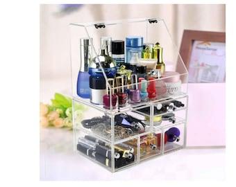 High Capacity Storage Box With 6 Drawers Clear Functional Desktop Acrylic Makeup Organizer Vanity Bathroom