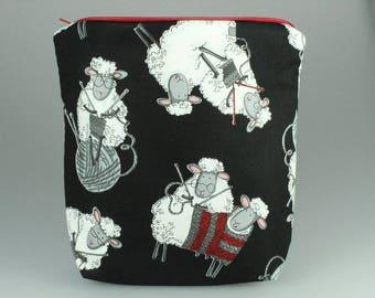 Knitty Sheep Zip Bag /Pouch