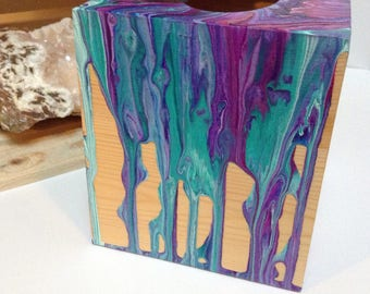 Wood Square Tissue Holder Box Painted Fluid Acrylics Purple, Blue, Pink