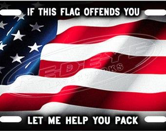 American Flag Patriotism License Plate Tag