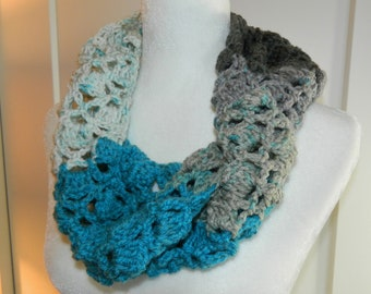 Crocheted Teal and Gray Infinity Scarf