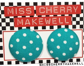 Turquoise and White Ditsy Polka Dot Fabric Button Rockabilly 1950's Pin Up Vintage Inspired Stud Earrings By Miss Cherry Makewell
