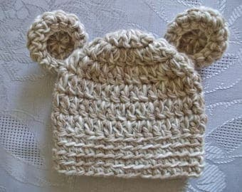 Wool baby hat Baby bear hat Newborn bear hat Crochet baby hat Baby hat with ears Baby animal hat Baby hat Winter baby hat Newborn boy outfit