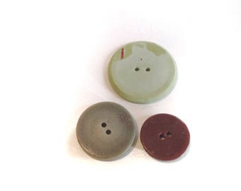 Round Buttons Vintage Interesting Three sizes