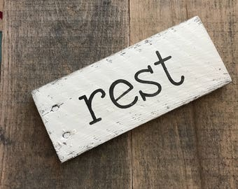 rest sign- Farmhouse sign on Reclaimed wood, small word sign