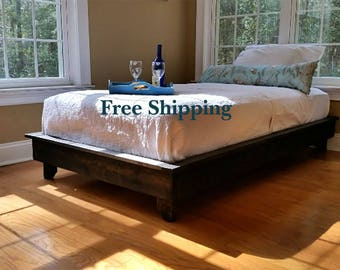 platform bed low profile bed ava solid wood bed bed frame custom