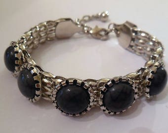 Vintage Bracelet Gray Links SIlver Tone Metal Retro Costume Jewelry Women's Fashion Accessories Gifts