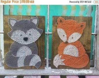 SALE Forest Friends String Art, Woodland Animal Wall Art, Fox Nursery Art, Fox Baby Shower Gift, Custom Made Nursery Art, Woodland Nursery D
