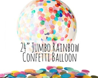 "24"" Large Rainbow Confetti Balloon, Rainbow Tissue Confetti Filled Clear Latex Balloon, Party Decoration, Wedding, Birthday, Photo Prop"