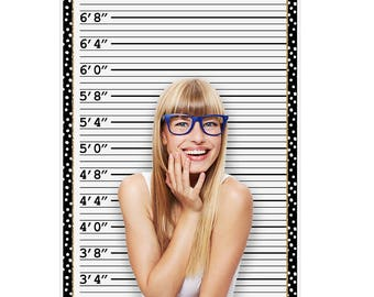 """Mug Shot Line Up -  Photo Booth Height Chart - 36"""" x 60"""" - Photo Booth Backdrop"""