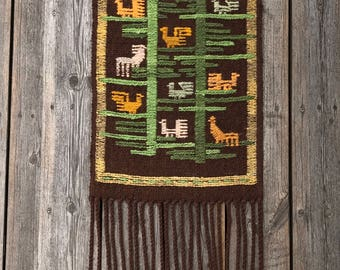 SWEDISH WALL HANGING / Vintage / Swedish textile / Hand made / Embroidery / Scandinavian / Wool / 60s / 70s / Stitches / Brown / Wall decor