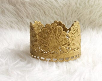 Little mermaid gold seashell princess lace crown