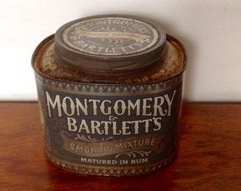 Large Vintage Tobacco Tin. Montgomery & Bartlett's Smoking Mixture.