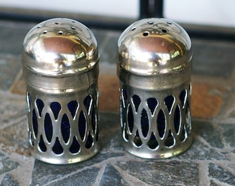 Antique SG England Silver Plate And Salt & Pepper Shakers with Cobalt Blue Glass Inserts