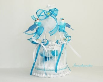Ring bearer birdhouse wedding birds feathers flowers and ribbons