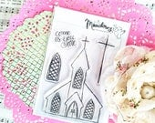 Come As You Are Mini Stamps Christian Scrapbooking Stamping Bible Journaling Church Stained Glass Window Cross Growing Meadows Tai Bender