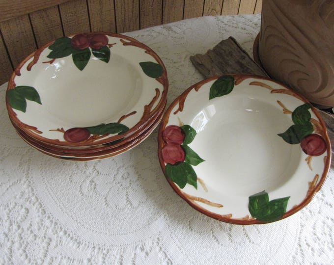 Franciscan Apple Soup Bowls Set of Five (5) 1976-1978 Vintage Dinnerware and Replacements California Pottery