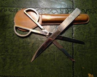 Vintage  Desk Set  with  Brass  Scissors  and  Chrome  Letter  Opener  -  Desk Decor - Cowhide Case  -  Germany - Paper Knife