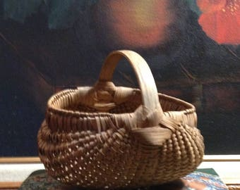 Miniature Antique Buttocks Basket - Collector Basket -   Nicely Woven - Home Decor - Gift for Him or Her