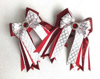 Shorty Horse Show Hair Bows/Red White/Sparkle gem/Beautiful Gift/Ready2Mail with clips