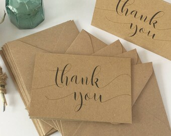 Thank you note cards with envelopes, mini thank you cards Rustic thank you notes Recycled Paper 10pk Printed Thank You text. Blank inside.