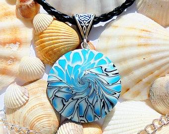 Unusual light blue necklace, Unusual necklace, Swirl necklace, Light blue necklace, Handmade necklace, Original necklace, Blue necklace