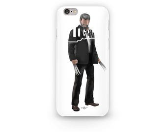 "Wolverine Phone Case Typography Design from the Marvel Universe with his name, ""Logan"" in Black Suit i-Phone Case of Logan Hugh Jackman"