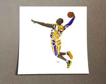 Kobe Bryant Poster Design Black Mamba Printed on 185 gsm semi gloss poster paper with 0.19 inch/0.5 cm white border to assist in framing