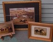 RESERVED FOR NATALIE Trio of Vintage Horse Framed Tabletop Pictures!