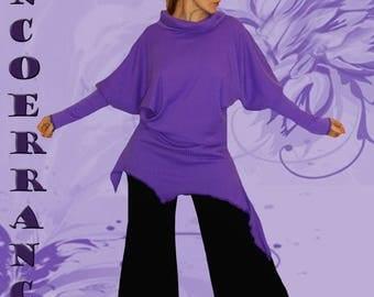 Pull Tunique  en maille   stretch , pull tunique ethnique , pull tunique bohème , boho    ' Purple  ...'