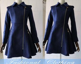 Dark blue wool long coat winter coat spring autumn coat warm coat women clothing women coat long sleeve coat jacket outerwear dress
