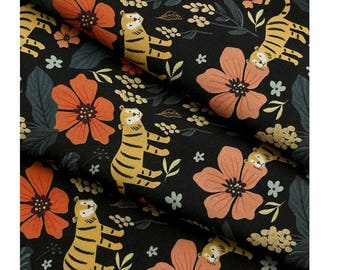 Cute Tiger and Floral Cotton Fabric by Yard - Black Color