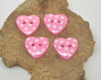 4 buttons plastic girl pink diamond heart 1.5 cm 2 holes