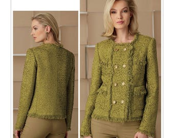 Vogue Sewing Pattern V9250 Misses' Lined Jacket with Princess Seams, Pockets and Self-Fringe