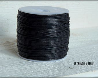 5 M Black 1 mm waxed cotton cord