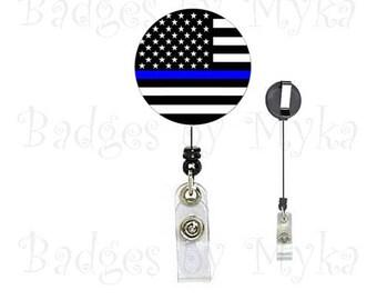 Retractable ID Badge Holder - Blue Line