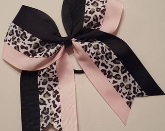 "7"" Cheer Bow  ~ pink black leopard hair bow ~ Cheer Bow, Varsity Cheerleading Ponytail Bow"