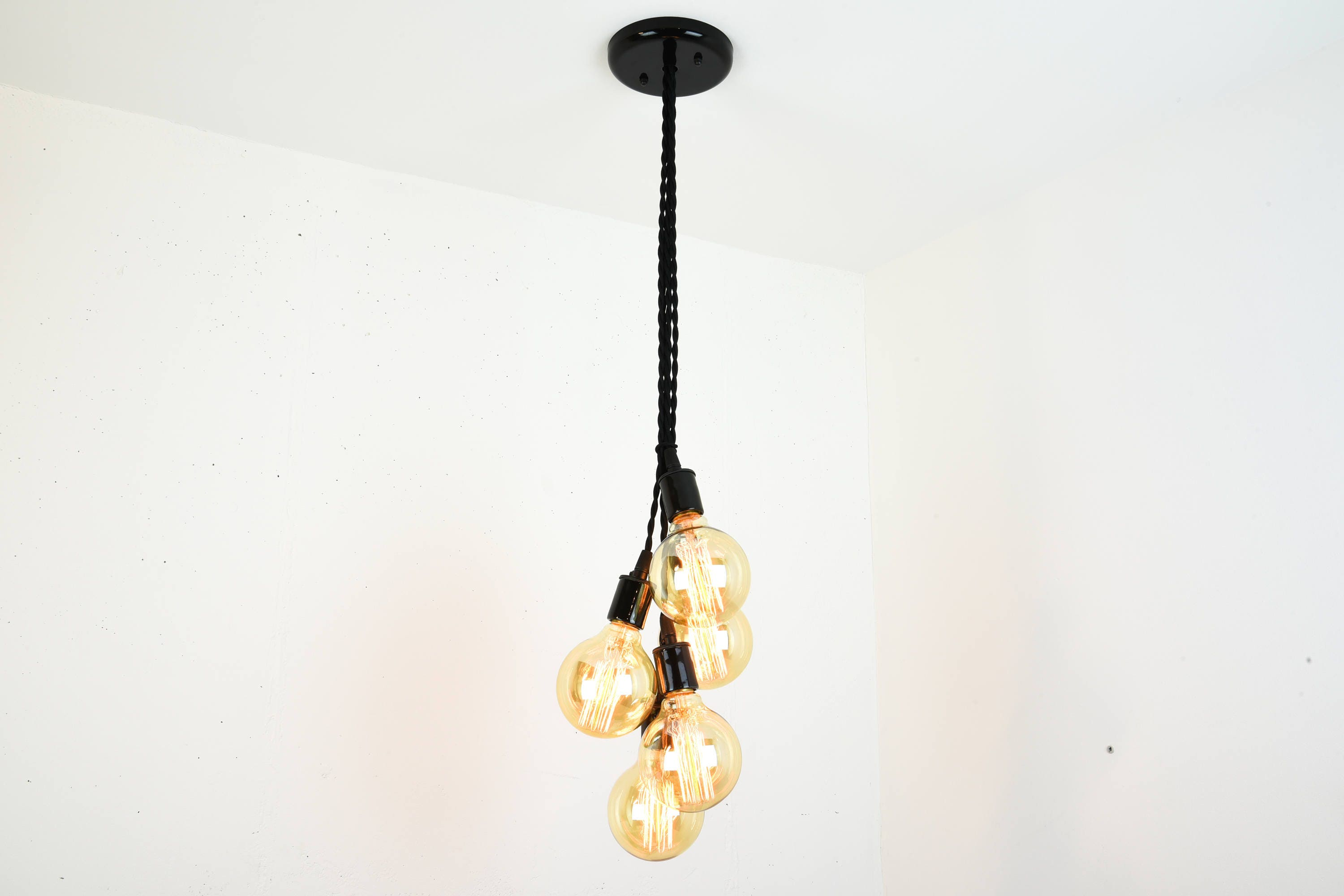 Multi Pendant Hanging Light Cluster Chandelier Exposed Bulb