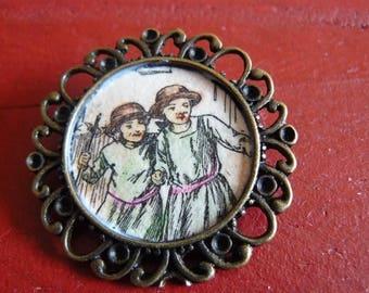 vintage brooch retro girls