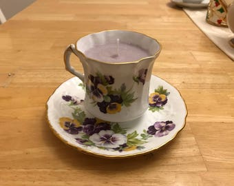 Upcycled Violet Teacup Candle